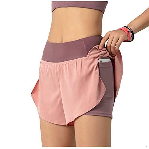 Pantalones Cortos de Running 2 en 1 para Mujer con Bolsillo Fitness Maratón Yoga Shorts Pantalón Corto Shorts Pantalones Cortos Deportivos,para Deportes Yoga Casual Gimnasio Ejercicio Playa