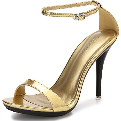 Women's Platform Heels Sandals Open Toe Ankle Strap Elegant Wedding Party Sexy Dress Stiletto Heeled High Heels Pumps Gold Size US9.5 EU40