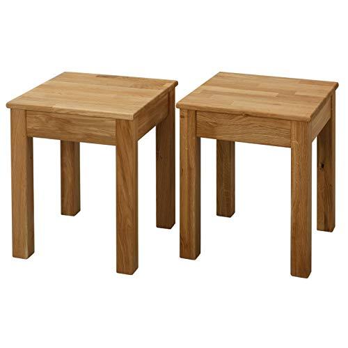 Krokwood Esszimmer Stuhl Massivholz Eiche FSC 100% Tomas 35x35x45 cm Hocker (2 x Esszimmer Stuhl ohne Eingriff 35x35x45 cm)