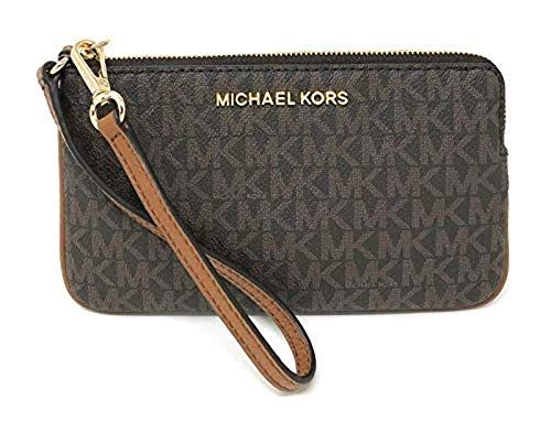 Michael Kors Jet Set Travel Large Top Zip Brown Signature PVC Wristlet Clutch