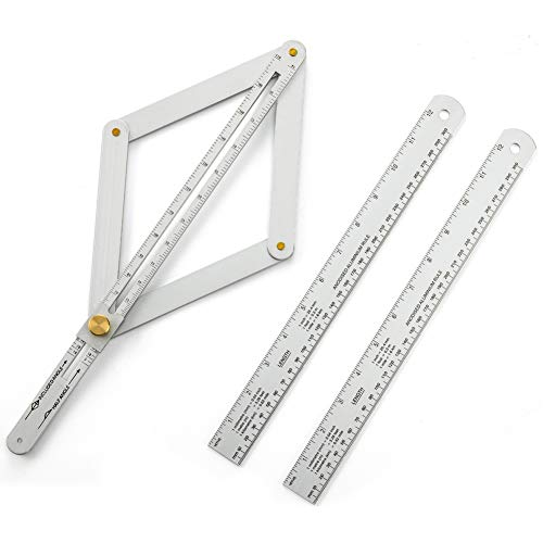 Aluminium Alloy Protractor + Rule Kit, 2 Pack 12'/300mm Straight Rule + 1 Corner Angle Finder,Ceiling Artifact Tool Squar Protractor for Woodworking Flooring Tile.