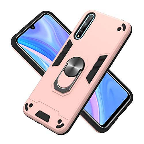 HAOTIAN Funda para Huawei P Smart S, Carcasa con 360 Anillo Iman Soporte Hard PC y Silicona TPU Bumper Híbrida Antigolpes Funda Estuche Case para Huawei P Smart S, Oro Rosa