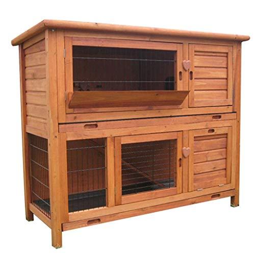 Chicken Coop Jaula de Madera Maciza para Mascotas Caja de cría de Conejos al Aire Libre fácil de Limpiar con Bandeja Inferior extraíble Suministros para Mascotas Pajareras (Color: Marrón, Tamaño: 12