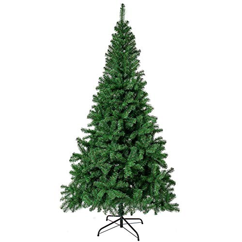 HERRON Christmas Tree Artificial Premium Spruce Hinged Xmas Tree with Metal Stand for Indoors&Outdoors (6ft)