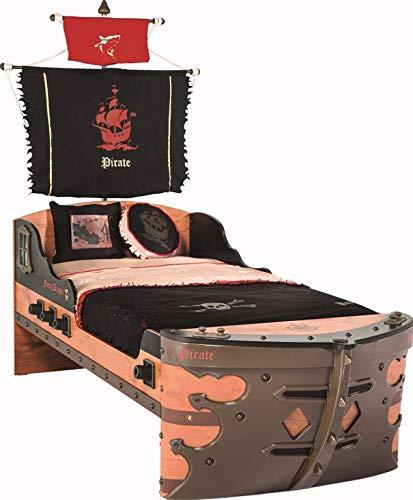 Froschkönig24 Cilek Pirate S Bett Kinderbett Piratenbett Schiff Braun 90x190 cm, Matratze:ohne