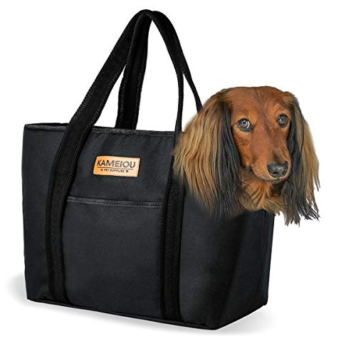 Pet Dog Purse Tote Carrier Bag for Small Medium Dogs Travel Soft-Sided Purse Carriers with Pockets Safety Tether Stand Pedal Portable Dog Sling Tote Carriers Purse for Small Dog Outdoor Doggy Carriers