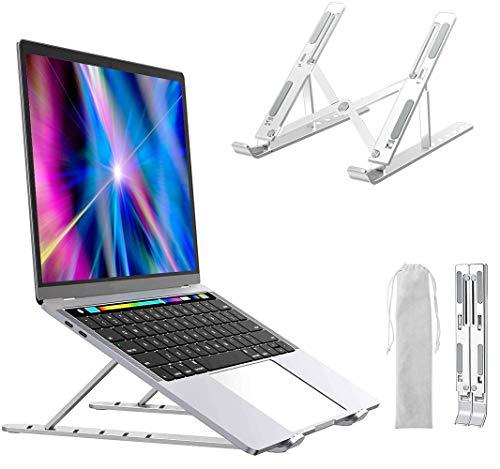 Supporto per Computer Portatile, Parkarma Supporto per Notebook Alluminio Laptop Stand Ventilato in Altezza 6 Livelli Antiscivolo Regolabile Fino a 15,6'per Laptop/Computer Portatile/Tablet