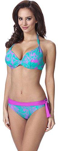 Feba Donna Push Up Bikini F11 (Motivo-324, EU Cup 80D / Parte Inferiore 40 = IT (Cup 3D / Parte Inferiore 46))