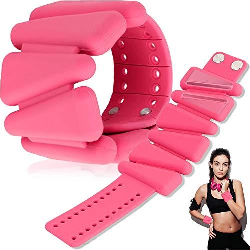GHH - Tobilleras para tobillos de 1 kg de peso, musculación ajustable, suave, para mujer, para correr, caminar, yoga, 2 unidades por set, rosa
