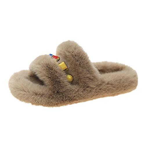Aupast Pantuflas para Mujer, Zapatillas de Felpa Open Toe Chanclas Mullidas Suave Cómoda Sandalia Zapatillas de Casa para Mujer 35-40EU