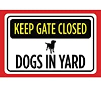Shimaier 壁の装飾 メタルサイン Keep Gate Closed Dogs in Yard Print Yellow Black Red White Print Picture Symbol Notice Caution Warning Fence, 縦20×横30cm ブリキ 看板