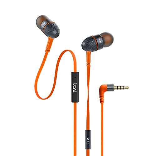 boAt BassHeads 225 in-Ear Wired Earphones with Super Extra Bass, Metallic Finish, Tangle-Free Cable and Gold Plated Angled Jack (Molten...