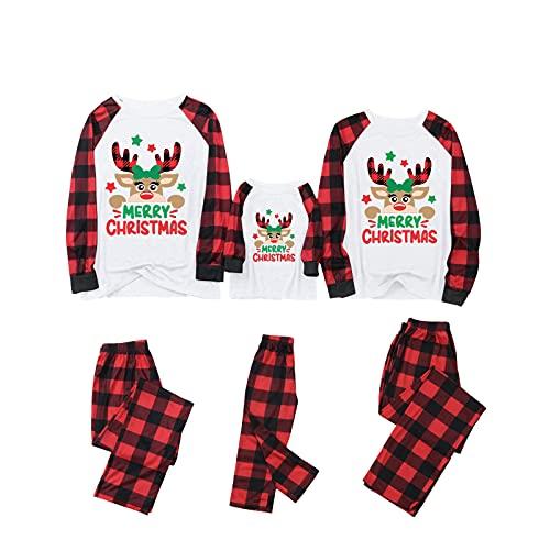 YILEEGOO Conjunto de pijama familiar de Navidad, estampado de ciervos de manga larga con cuello en O y pantalones de impresión a cuadros, Rojo Negro Mujer, L