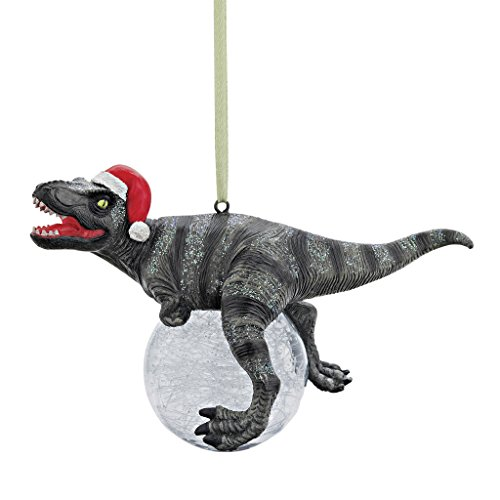 Design Toscano QS93320 Blitzer the T Rex Dinosaur Christmas Tree Ornament, 5 Inch, Single