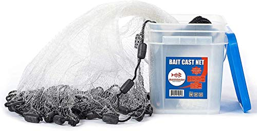 Bassdash Fishing Cast Net 3/8-Inch Mesh 4ft 6ft 8ft Radius, 1-Pound Per Foot, for Bait Fish with Utility Bucket