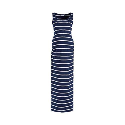 2HEARTS Robe Longue rayée de Grossesse et d'Allaitement, Stripes Dress Blues/offwhite