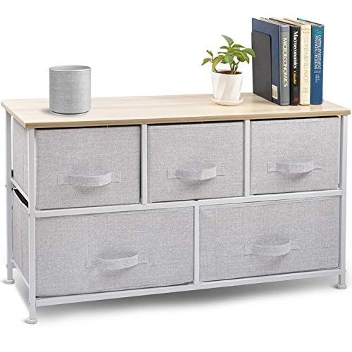 Wide Drawer Dresser Storage Organizer - CERBIOR 5-Drawer Closet Shelves, Sturdy Steel Frame Wood Top with Easy Pull Fabric Bins for Clothing, Blankets- Grey