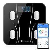 体重計 体組成計 体脂肪計 Bluetooth対応 乗るだけ 電源自動ON 体重/体脂肪率/筋肉量/骨量/基礎代謝量/BMIなど多項測定可能 iOS/Androidアプリで健康管理 収納可能 電池付属