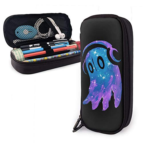 Undertale Napstablook Students Stationery Bags Pencil Case Pu Leather Holder Pouch Zipper Pen Case for School Home Office Supplies