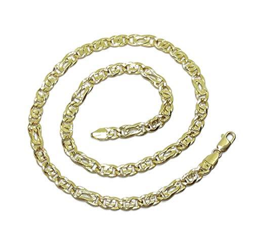 Never Say Never Herren-Kette aus 18-karätigem Gelbgold, kombiniert mit Tigerauge und Doppelbart, 8 mm breit und 60 cm lang mit Karabinerverschluss. Gewicht: 15,00 g 18-karätiges Gold
