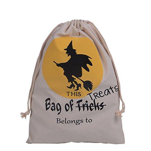 ODN Halloween Geschenktüte Bonbon-Tüte, Baumwolle Leinwand Kordelzug Sack für Halloween Süßigkeit Keks Süßes Geschenk-Taschen (Stil 4)