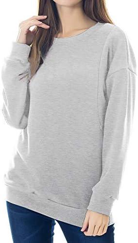 Smallshow Women s Fleece Maternity Nursing Sweatshirt Breastfeeding Tops Large Light Grey product image