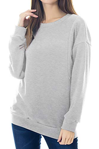 Smallshow Women's Fleece Maternity Nursing Sweatshirt Breastfeeding Tops Large Light Grey