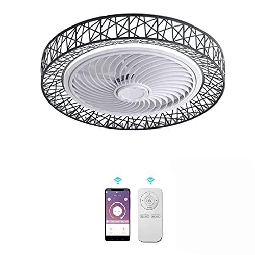 LED Ventilador de techo Con Control Remoto Y Control de APP Invisible Ventilador 3 Velocidades Ajustable Silencio Fan Moderno Lámpara de techo Iluminación de techo Cuarto Regulable Sala Lámpara,Negro
