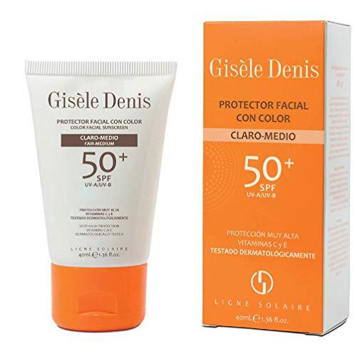 Gisèle Denis - Protector Facial con Color FPS50+, Crema, Cuidado Facial y Solar, Tono Claro-Medio, 40 ml