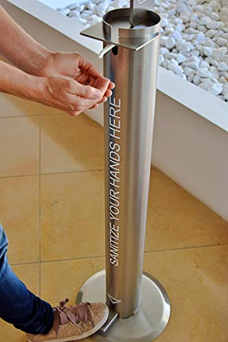 Poço - Dispensador de desinfectante de manos con pedal, sin contacto con las manos (6 litros – 1200 dosis de 5 ml)