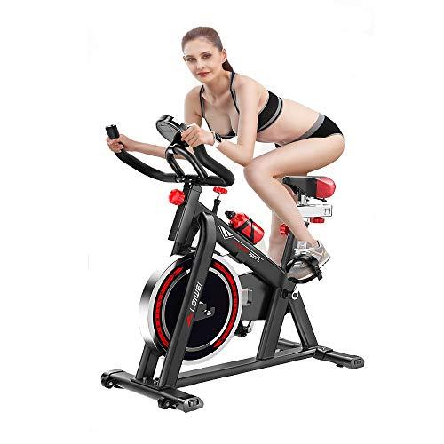 YAJAN Bicicleta Indoor Bicicleta de Spinning con Disco de Inercia y Resistencia Regulable Bici de Entrenamiento Fitness con Sillín Ajustable Pulsómetro y Pantalla LCD