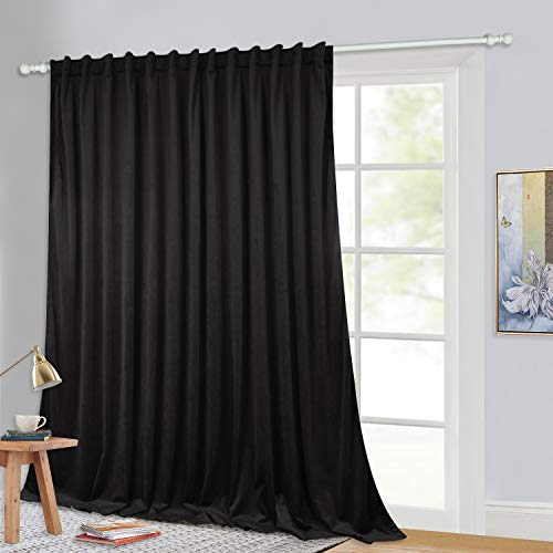 StangH Velvet Blackout Curtains for Sliding Door - Black Backdrop Drapes Heat Insulated Vertical Blinds Deep Darkness Privacy Extra Wide Panel for Studio Room, Black, 100 x 120-inch, 1 Panel