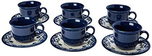 1 Conjunto com 6 Xícaras de Chá com Pires 15 Cm Oxford Daily Floreal Energy Branco/Azul 200 Ml