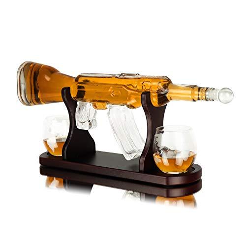 Whisiskey® Carafe à whisky avec fusil et carafe à whisky - 1000 ml - Cadeau de Pâques pour hommes et femmes - Avec 2 verres à whisky, 9 pierres à whisky et un bec