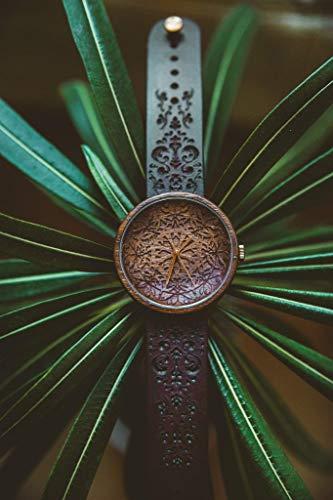 Ovi Watch - Mandala King | Hochwertige Handgefertigte Uhr aus Nussbaumholz mit Mandala-Symbolen | Schweizer Uhrwerk & Saphir Glas |
