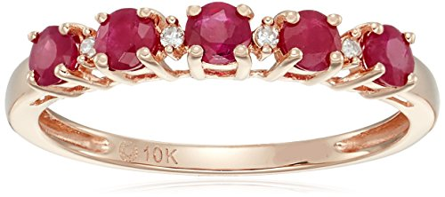 10k Rose Gold Genuine Burmese Ruby and Diamond Accented Stackable Ring, Size 7