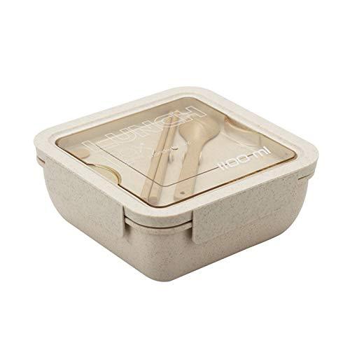 Heigmz Fh Bento Box - Fiambrera portátil de acero inoxidable, aislamiento de alimentos, taza de sopa sellada a prueba de fugas (color beige)