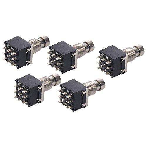 Interruptor de pie - SODIAL(R)5X Negro 3PDT interruptor de pie de efectos de guitarra de 9 pines de metal de puente verdadero