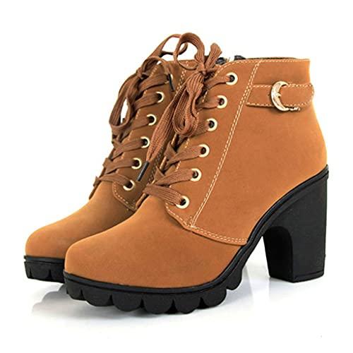 SJDFK Botas Martin Sexy para Mujer Tacones Altos Botines De Tobillo Zapatos De Trabajo Al Aire Libre con Cremallera Lateral con Cordones,Yellow-37