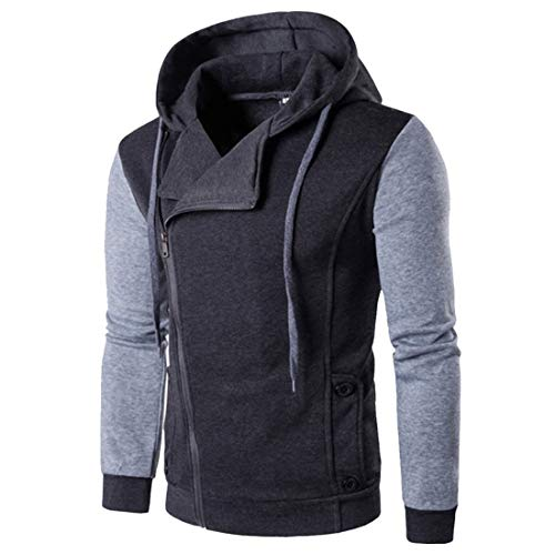 Herren New Diagonal Zipper Hooded Sweatshirt Nähte Leder Cardigan Jacke Herren Hoodie Diagonal Zipper Design Langarm Hoodie Herren Solid Color Sport Tops mit Tasche Diagonal Reißverschluss Hooded