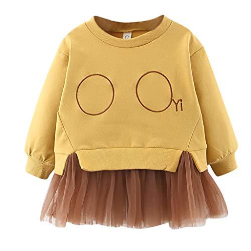 Livoral Kinder Revers mit Langen Ärmeln schöne Baby Girl Button Gaze Prinzessin Rock(Gelb,0-6 Monate)