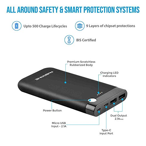 Ambrane 15000mAh Li-Polymer Powerbank with Type C and USB Ports | Fast Charging for Smartphones, Smart Watches, Neckbands & Other Devices (PP-150, Black)