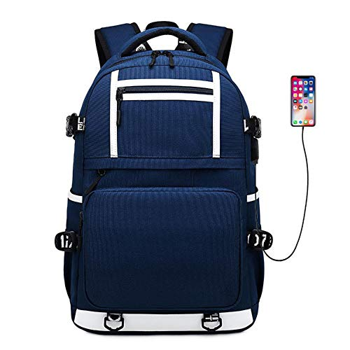 XWQYY Backpack male 18-inch casual water-repellent student school bag outdoor travel Oxford cloth backpack computer bag,Blue