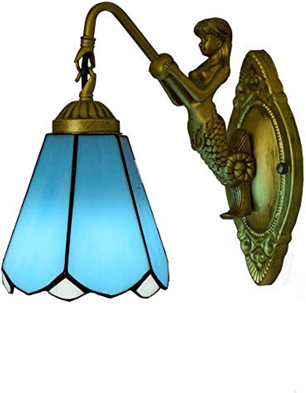 GONGFF Vintage-Stil LED Glasmalerei Schatten Wandleuchte Wandleuchte dekorative Leuchte für Schlafzimmer Beleuchtung am Bett, blau