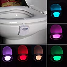 LED Toilet Lights Motion Detection, 8-Color Changing Inside Toilet Bowl Nightlight, Infrared Auto Motion Activated Sensor ...