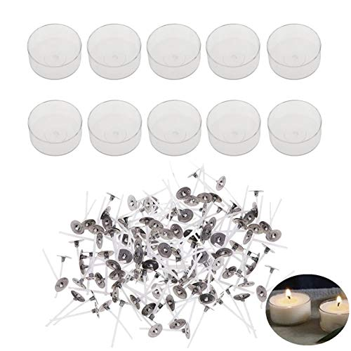 Candle Making Kit- 100 Pcs Pre-Waxed Cotton Candle Wicks with 10 Pcs Plastic Clear Round Shape Tealight Cups Holders Empty Case for DIY Tea Lights, Candle Making Mold (Round)