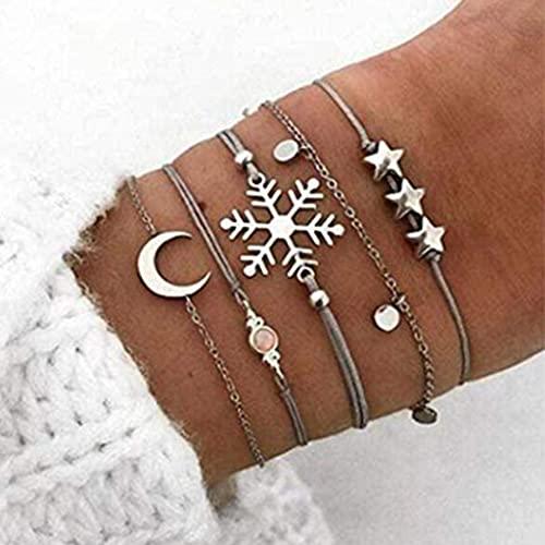 Branets Juego de pulseras de estrella y luna en capas Boho, pulsera de copo de nieve de plata,...