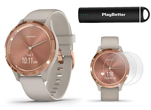 Garmin vivomove 3S (Light Sand/Rose Gold) Power Bundle | +HD Screen Protectors & PlayBetter Portable Charger | Hidden Touchscreen, Analog Look | Hybrid GPS Smartwatch