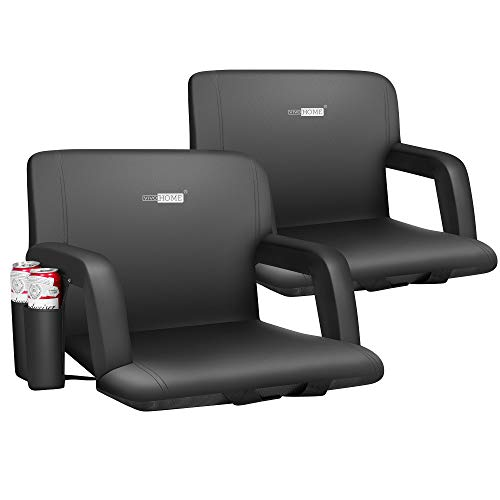 VIVOHOME Portable Reclining Stadium Seat Chairs for Bleachers with Padded Backrest and Adjustable Armrests, Two Pockets for Drinks, Set of 2,Standard Width 20 Inch