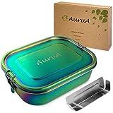 AuruA® große Edelstahl Brotdose für Kinder und Erwachsene, plastikfreie Lunchbox aus Metall, Bento Box Brotbox nachhaltig und auslaufsicher (Regenbogen, 1400ml)